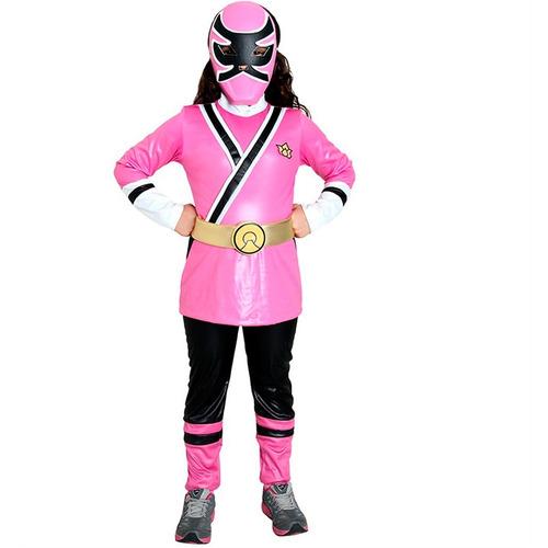 fantasia power ranger rosa infantil samurai completa de luxo