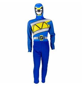 60f35a5a87c511 Fantasia Power Rangers Azul Dino Charge Longa C/ Gorro P M G
