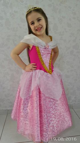 fantasia princesa aurora bela adormecida luxo com coroa
