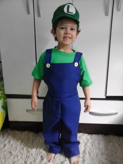 Fantasia Roupa Super Mario Luigi Ou Toad Cogumelo Infantil - R  79 ... bbaa424a1cf