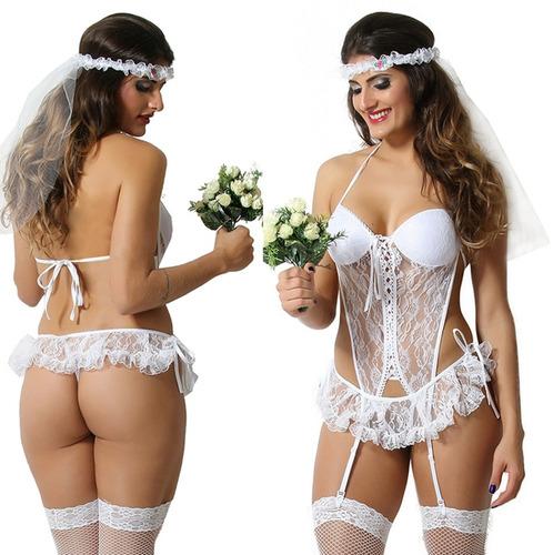 fantasia sensual noiva sexy com cinta liga completo c/ meias