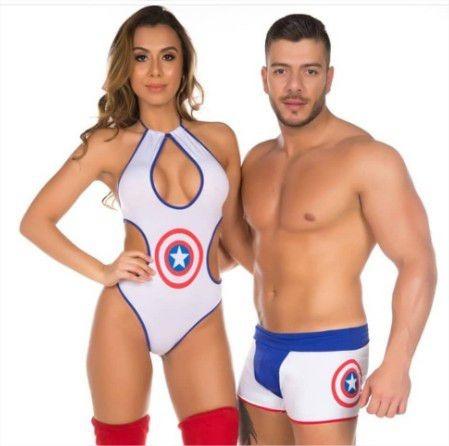 53ee07c61 Fantasia Super Heróis Body E Cueca Sensual Capitão America - R ...