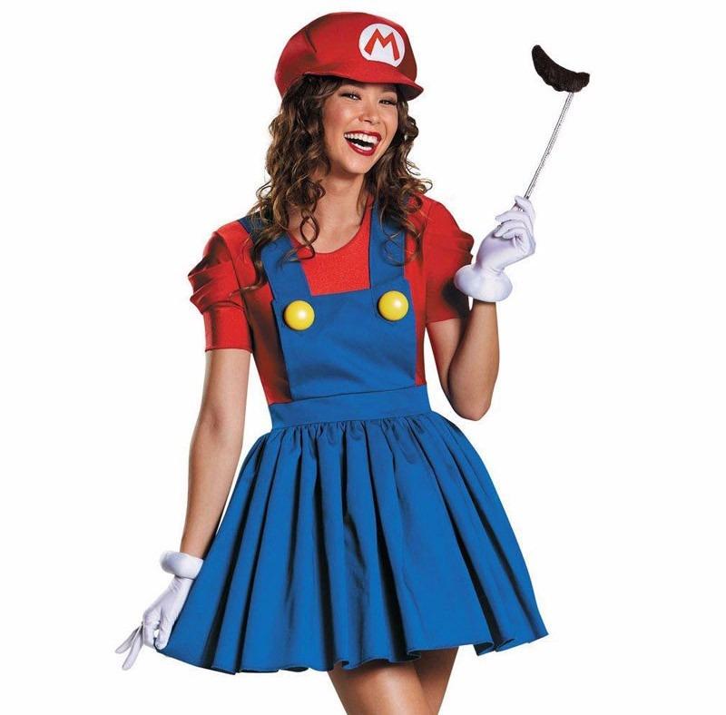 ebe28b0152800d Fantasia Super Mario Girl Completa Tamanho M Cosplay Festa