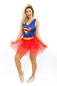 4f0459016e6147 Fantasia Supergirl Com Saia Adulto Macaquinho Heroina