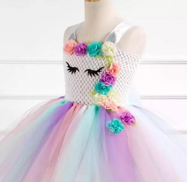 d4dd61b6302fad Fantasia Unicórnio Infantil Tule Colorido Brinde Tiara 12 X