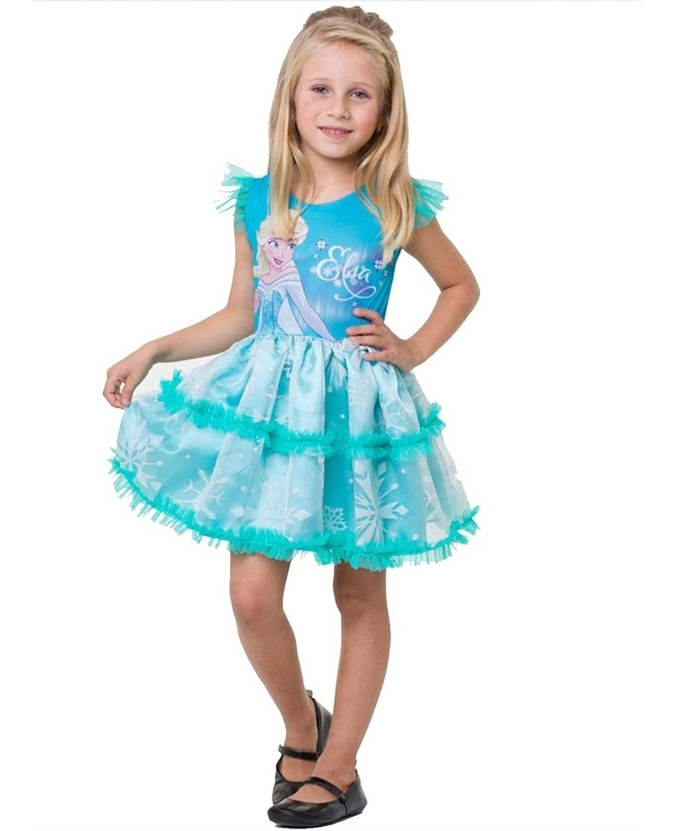 91a84653b4430b Fantasia Vestido Frozen Elsa Infantil Original Disney