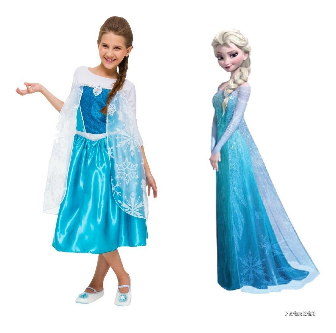 Fantasia Vestido Infantil Elsa Frozen Princesa Disney Origin