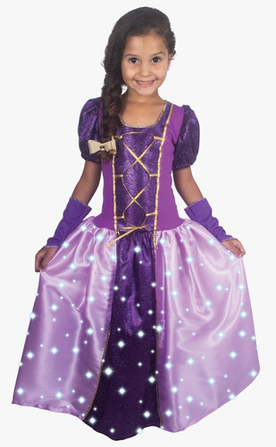 fantasia vestido m longo c/ led princesa lilás 2616 brinkmod