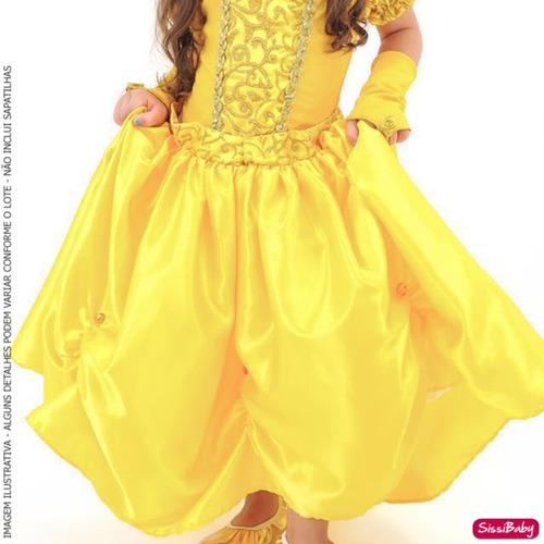 fantasia vestido princesa bela e fera infantil luvas coroa