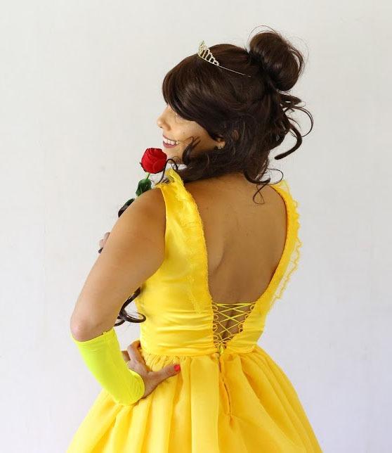 58fd5515c Fantasia Vestido Princesa Bela Modelo Novo Adulto +luva - R  149