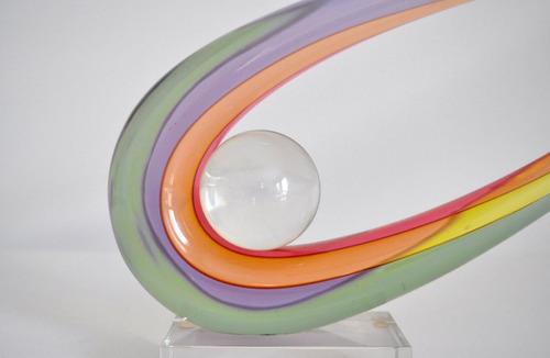 fantástica rara escultura cristal murano, assinado, sommerso