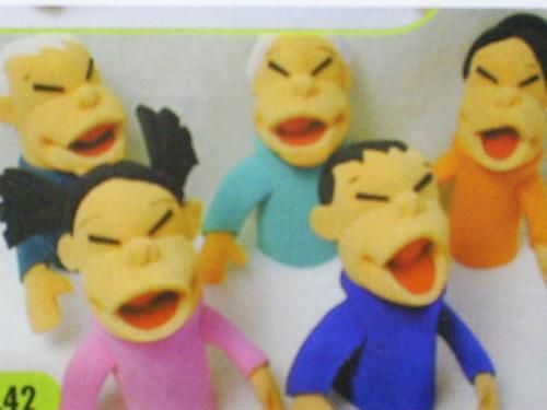 fantoche espuma família oriental com 5 personagens - 2042