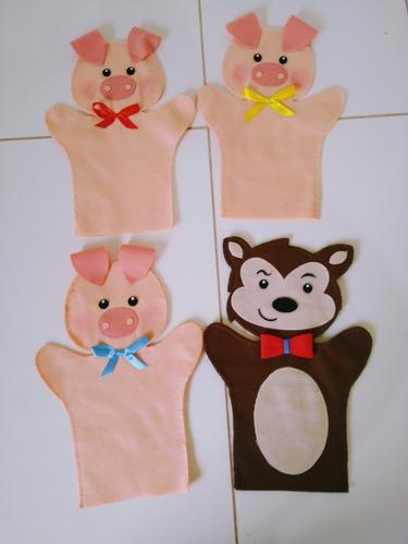 fantoche três porquinhos em feltro - kit com 4 unidades