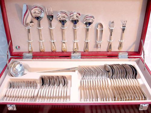 faqueiro italiano 130 peças inox filetados a ouro 24k belo