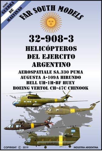 far south models 1/32 32-908-3 helicópteros del ejercito arg