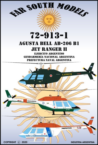 far south models 1/72 72-913-1 agusta bell ab-206 b1 jet ran