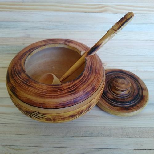 farinheira farinheiro em madeira com colher ref: 9436