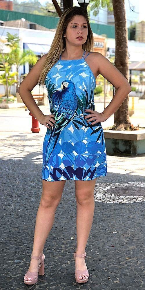 d239c66a9 Farm Vestido Curto Maxi Arara Azul - R$ 219,90 em Mercado Livre