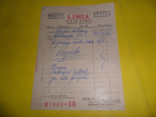 farmacia optica pio d. limia boleta antigua boleta 1966