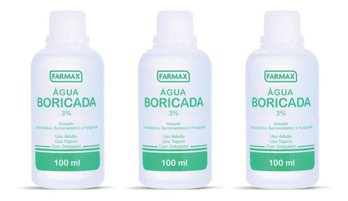 farmax água 3% boricada 100ml (kit c/03)