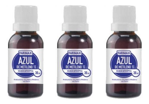 farmax azul de metileno 30ml (kit c/03)