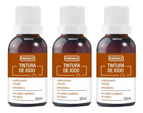 farmax tintura de iodo 30ml (kit c/03)