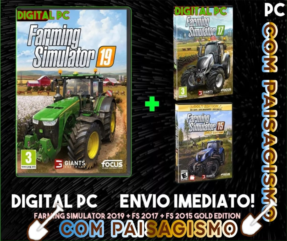 Farming Simulator 19 C/paisagism Pc+fs 15 Gold Edition+fs 17