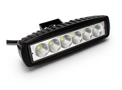 faro auxiliar barra rectangular 6 led 18w 12v - 24v -xp moto