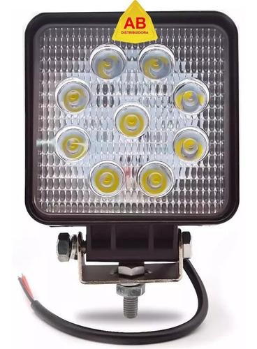 faro auxiliar cuadrado 12v 24v proyector 9 led 27w off road
