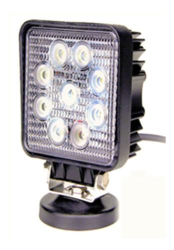 faro auxiliar proyector 9 led 27w cuadrado off road 4x4 moto