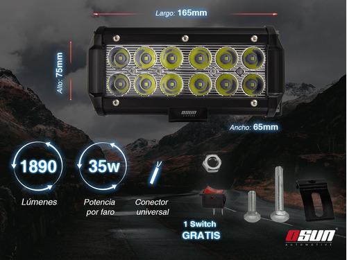 faro barra led osun 36w base luz automotriz 4x4 universal