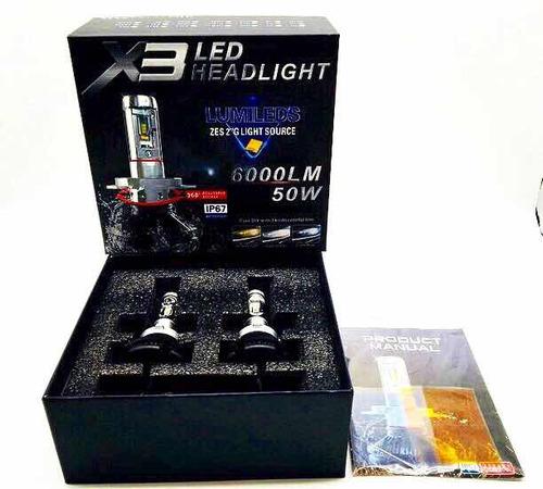 faro bombillo luces led x3 modelos  h4 h13