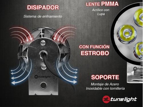 faro de 4 led 20w y estrobo/base universal para motocicletas