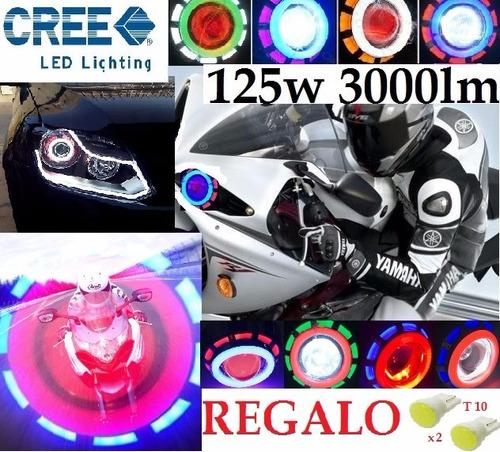 faro hyperled xenon doble ojo angel demonio moto auto 4500lm
