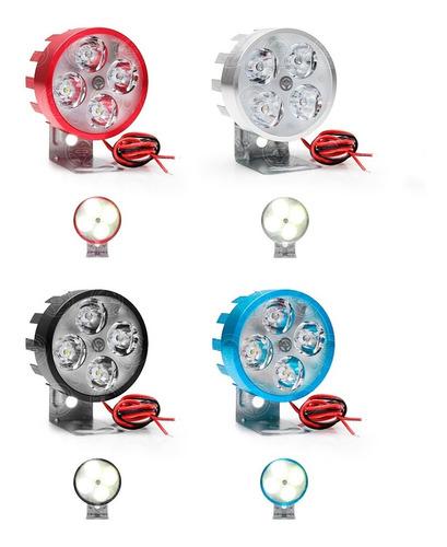 faro redondo 4 led auxiliar 12w alta baja estrobo colores f1