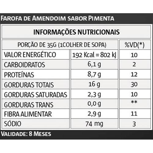 Resultado de imagem para INFORMAÇÃO NUTRICIONAL FAROFIT PIMENTA