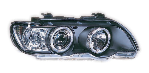 farol angel eyes led bmw x5 e53 1998 a 2003 máscara negra