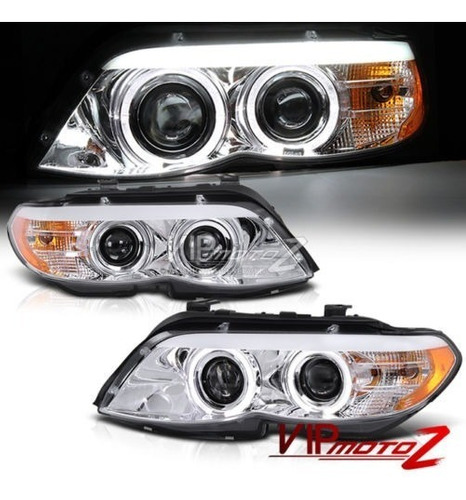 farol angel eyes led bmw x5 e53 2004 a 2006 cromado