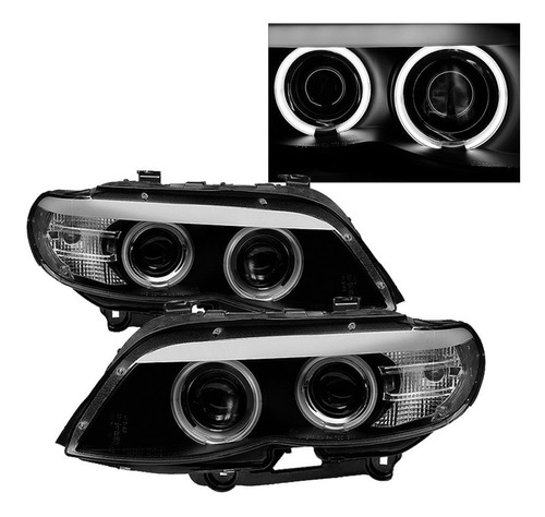 farol angel eyes led bmw x5 e53 2004 a 2006 máscara negra