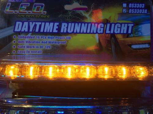 farol barras 16 leds  luz dia + señalero 2en1 12v waterproof