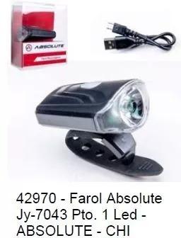 farol bike usb super led absolute jy-7043 recarregável novo