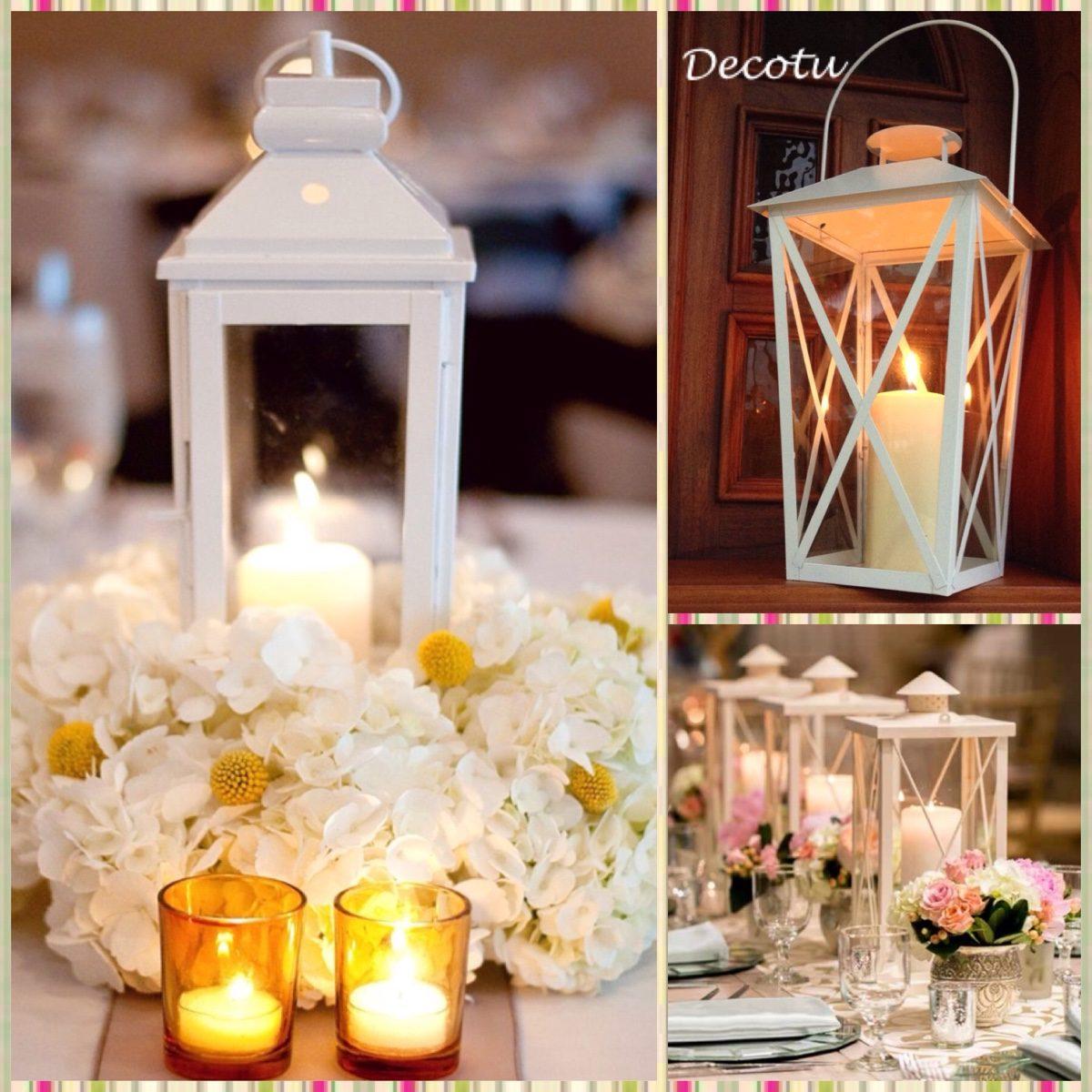 Farol candelabro porta vela decoraci n recuerdo boda - Decoracion de velas para bautizo ...