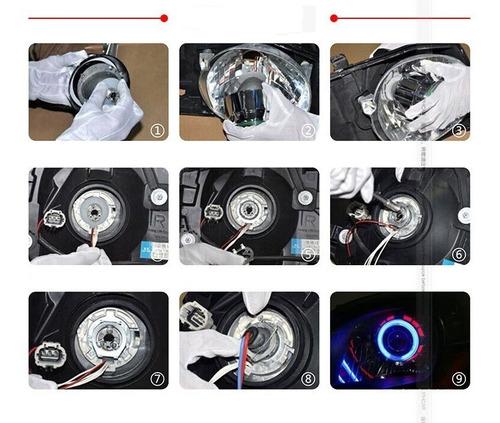 farol carro projetor universal 2,5 angel eyes duplo retrofit