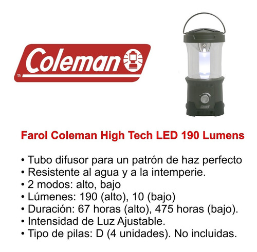 farol coleman  high tech cpx6 190 lumens 475 horas luz ajust