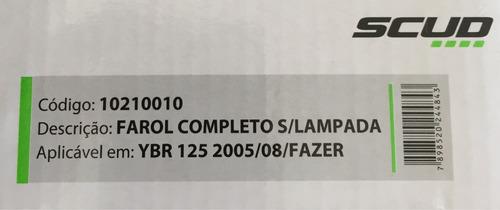 farol completo scud - sem lâmpada - ybr 125, 05 até 2008