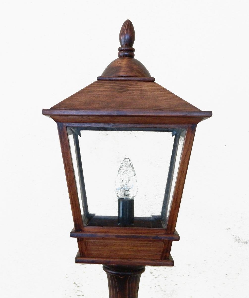 Farol con poste en madera de abeto iluminaci n decoraci n - Postes de madera ...