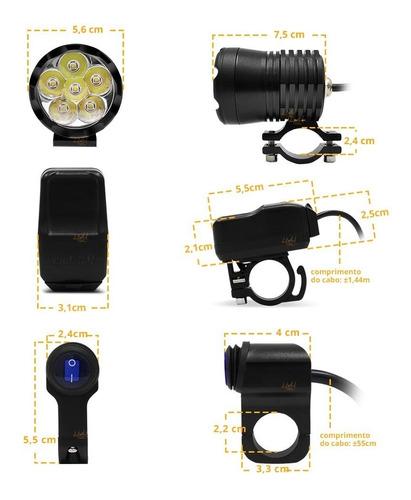 farol de milha led 60w 10.000 lumens luz auxiliar p/ moto bigtrail custom naked + controle aluminio prova agua - par!!