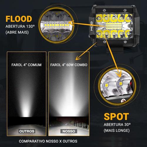 farol de milha led auxiliar 60w 4 pol 6000 lumens 120w o par