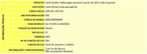 farol de milha volkswagen amarok 2013 2014 original