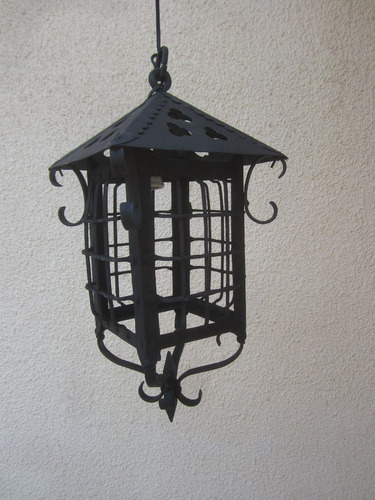 farol fierro forjado con remaches antiguo